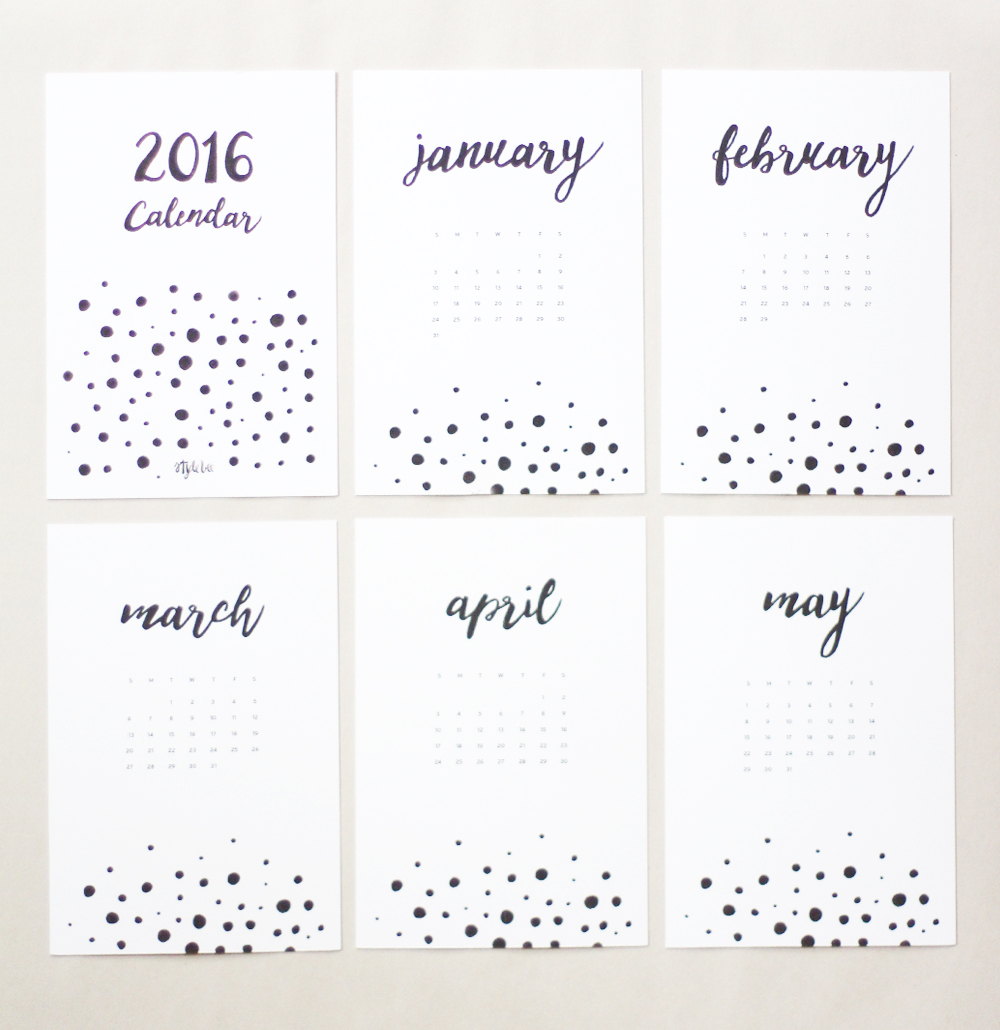 Style Bee - 2016 Printable Calendar