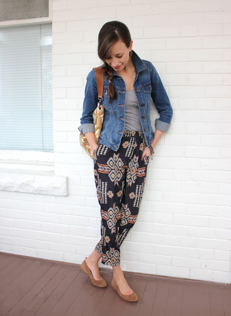 Girl with tribal pants and jean jacket.