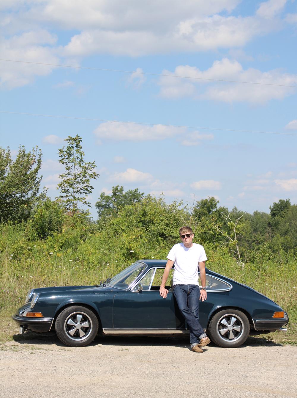 Man and a 1969 Porsche 911.