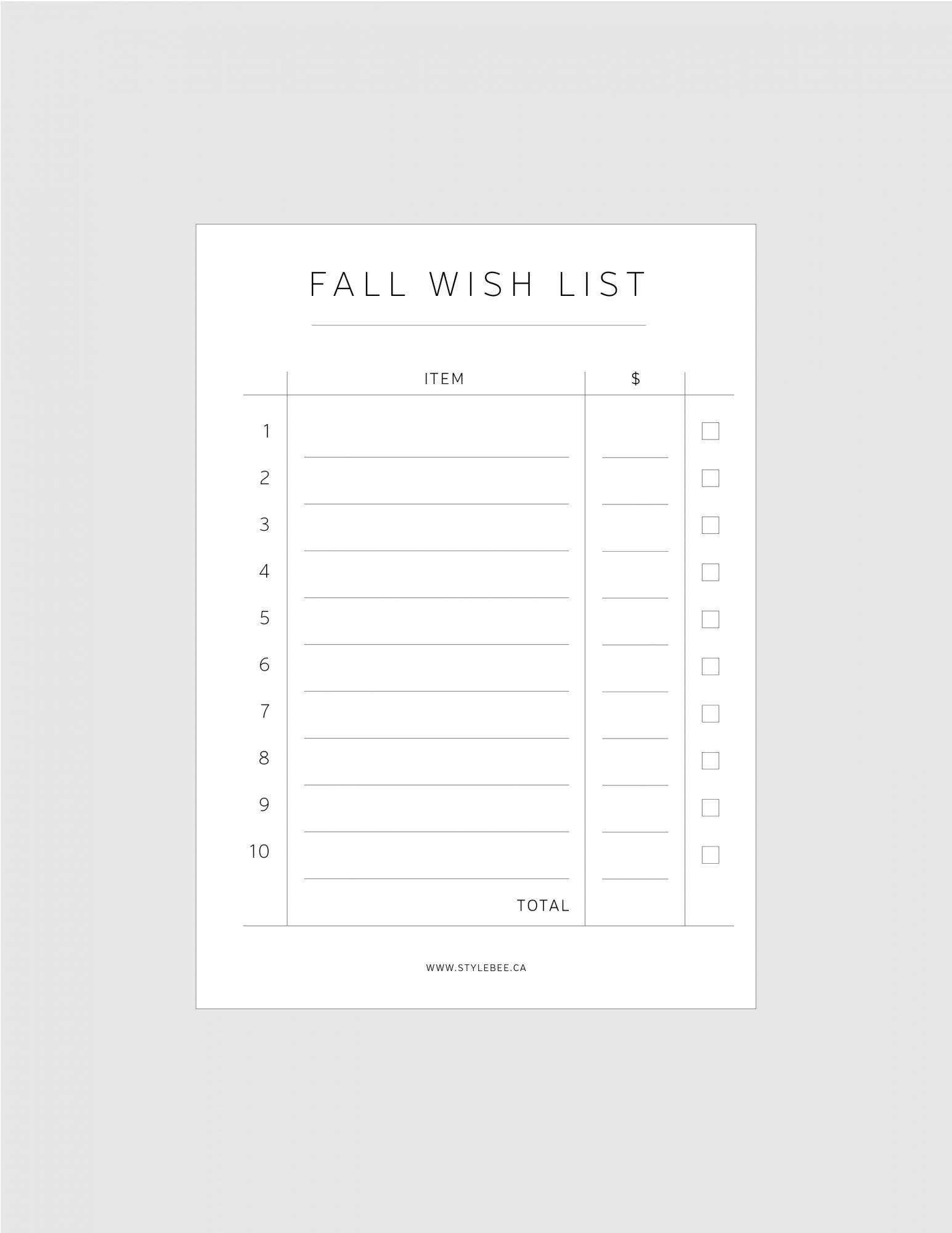 StyleBee_FALLWishlist_Printable