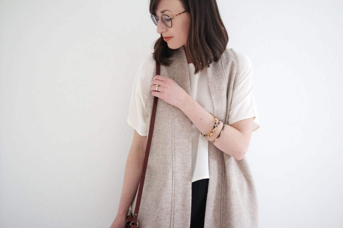 Style Bee - Winter Palette - Black Slim Pant + Loose White Top + Wool Vest + Taupe Boots + Tortoise Bangles